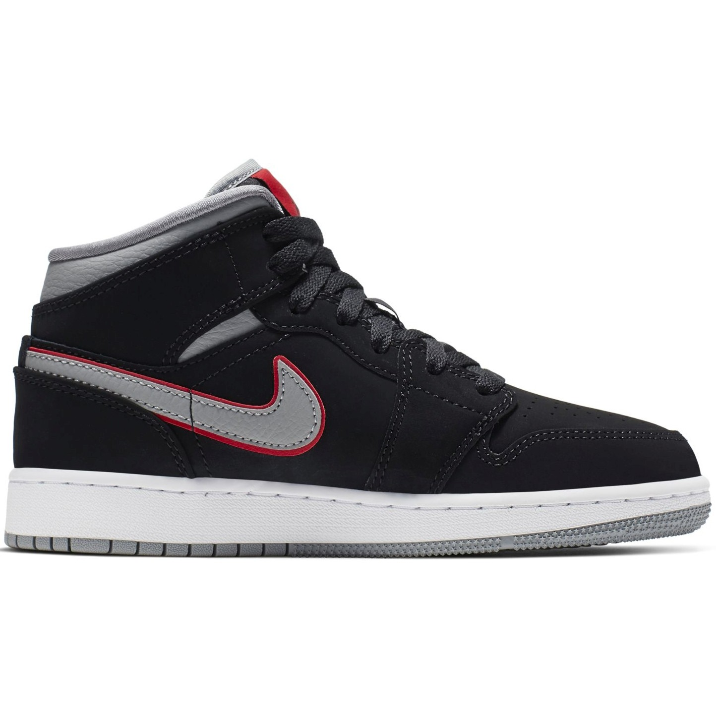 Nike Air Jordan 1 Mid GS Black Particle Grey Gym Red - Laisvalaikio batai